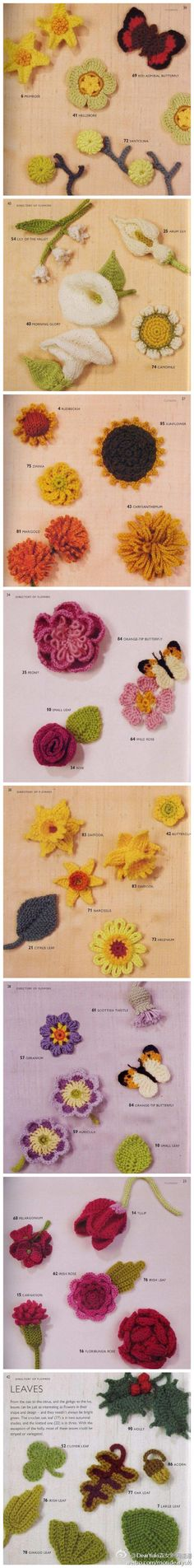 flowers - tons of flowers crocheted, looks almost real, butterflies too