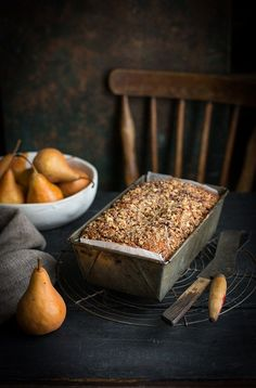 Pear and halva crumb