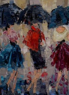 """""""Lunch in Paris"""" oil on canvas 20 by Kathryn Trotter Atlanta, Georgia Inspired by the women of Paris. Rain Painting, Painting People, Painting Studio, Oil On Canvas, Canvas Art, Umbrella Art, Daily Painters, Beauty Art, Silhouette"""