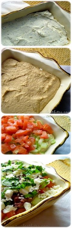 7 layer greek dip, we used ricotta instead of the other cheeses, so tasty. Eat with toasted pita (or corn chip for GF. I Love Food, Good Food, Yummy Food, Tasty, Yummy Appetizers, Appetizer Recipes, Greek Dip, Greek Salad, Healthy Snacks