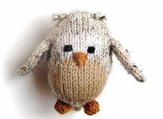 "Miniature Owl Stuffed Animal - Hand Knitted Amigurumi Doll Woodland Nursery Tiny Stuffed Toy Baby Knit Toy Knit Animal Owl Toy 4 1/4"" Tall"