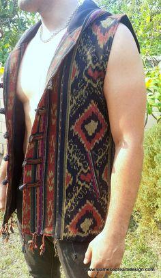 Derek Tribal Mens Hooded Vest With Fringe In Rust Authentic Ikat