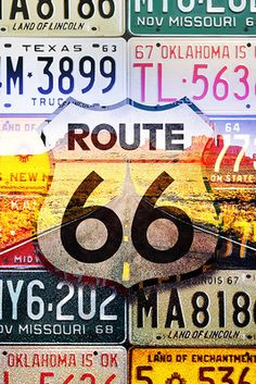 Route 66 License Plates - Highway Road - Lantern Press Poster