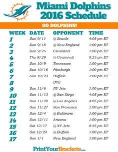 Miami Dolphins Schedule - 2016