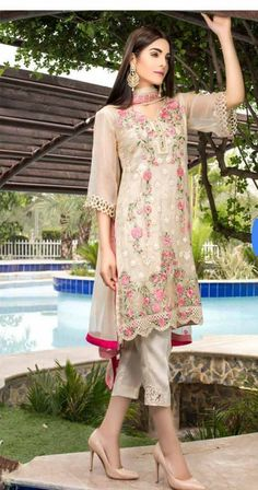 This Exclusive Pakistani Suit Is An Ultimate Party Wear Collection With The Mesmerizing Colours Of Cream . With The Artistic Embroidery,Patch Work And Leave No Stone Unturned And Be At Your Fashiona. Pakistani Salwar Kameez, Pakistani Suits, Pakistani Dresses, Indian Dresses, Indian Outfits, Anarkali Suits, Kurti, Pakistani Fashion Party Wear, Indian Fashion