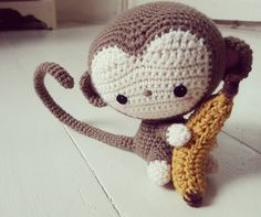 I want to keep him. His head is so big he reminds me of a Blythe doll  #helovesdatbanana #crochet #amigurumi #crochetmonkey #blythedoll by puddnhead