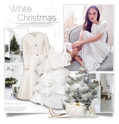 """White Christmas"" by thewondersoffashion ❤ liked on Polyvore featuring Chanel, Esme Vie, Judith Leiber, Aquazzura and Anne Sisteron"
