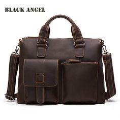 BLACK ANGEL Cow Genuine Leather Men bags Crazy Horse Leather Handbags Men messenger bag Shoulder Briefcase