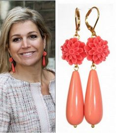 "Queen Máxima on May 31 with the earrings ""Bloemenpracht"" from the Ellen Beekmans collection during her speech on financial awareness in the Palace Church in the Hague."