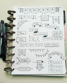 "123 Likes, 3 Comments - Julie Mooney (@juliedealmooney) on Instagram: ""Still working on resource pages for my #bulletjournal. Today was banners. Next is boxes. . . . .…"""