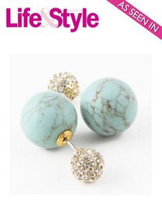 Turquoise Stone & Crystal Double-Sided Earrings (As seen in Life & Style Magazine) - My Jewel Candy - 1