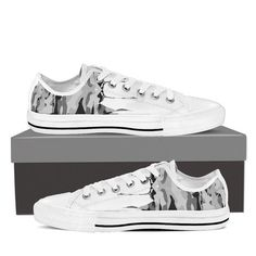 Colorful Chaos in Gray Tones on a White Low Top for Men