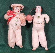 """(2)+Antique+Spun+Cotton+""""Man+With+Ball+And+Chef""""+Christmas+Ornaments"""