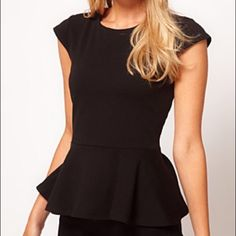 ASOS Peplum Top 100% NEW & UNWORN!! Black with peplum hem, cap sleeve & zip closure back. ASOS Tops Tunics
