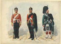British; 91st Argyleshire Highlanders, Private, Officer & Piper,1864 by R.Simkin