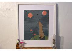 Ilustración en acrílico, tinta, lápices de color y collage sobre cartón. Enmarcada. Pieza única. 37.5 x 43 cm