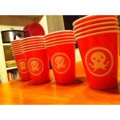 Octonauts Cups--orange cups with logo printed on sticker paper Niall Birthday, Elsa Birthday Party, 5th Birthday Party Ideas, First Birthday Parties, Boy Birthday, Third Birthday, Octonauts Party, Party Cups, Party Time