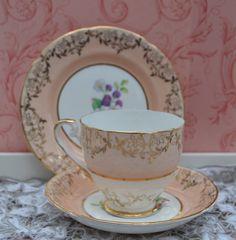 Dakin China Tea Trio - Tea Cup, Saucer, Tea Plate, Vintage English Peach, Floral and Gilt Bone China, Very Good Condition by ImagineHowCharming on Etsy