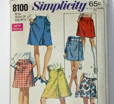 Vintage 1960s Sewing Pattern Simplicity 8100 Skirts in Two
