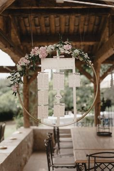 Table Plan In Floral Hoop - Bride In Halterneck Jesus Peiro Dress Pastel Colour Palette Wedding In The South Of France With Images by Sebastien Boudot