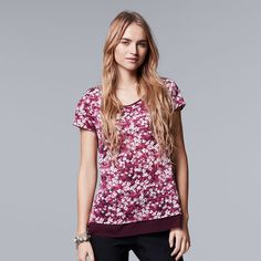 Women's Simply Vera Vera Wang Crinkle Tee, Size: Medium, Dark Pink