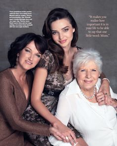 Miranda Kerr with her mother and grandmother.Find inspiration for group poses Mother Daughter Poses, Mother Daughter Photography, Mother Daughters, Mothers, Mom Daughter, Miranda Kerr, Generation Pictures, Generation Photo, Pose Portrait