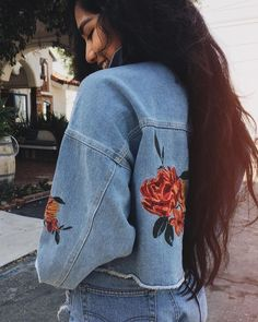 """1,328 Likes, 3 Comments - Urban Outfitters Los Angeles (@uolosangeles) on Instagram: """"When your favorite staple gets an update  Shop the BDG Embroidered Rose Cropped Denim Trucker…"""""""