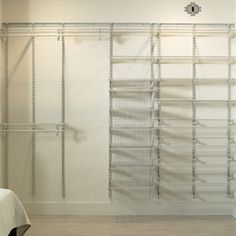 DIY closet organizing systems are expensive. Save money, time, and stress with these quick and easy DIY closet organizer ideas. Track Shelving, Wire Closet Shelving, Closet Shelves, Closet Storage, Entry Closet, Master Closet, Closet Bedroom, Closet Space, Smart Closet