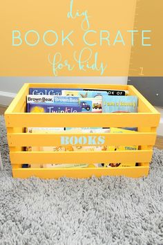 Use a wooden crate to make this DIY organizer to store kids books!