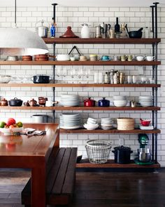 13 Amazing Industrial Kitchen Shelf Design To Organize Your Kitchen Tool Easily . 13 Amazing Industrial Kitchen Shelf Design To Organize Your Kitchen Tool Easily - Freedsgn, Kitchen Shelf Design, Diy Kitchen Shelves, Kitchen Interior, Kitchen Storage, New Kitchen, Kitchen Decor, Wood Shelves, Pipe Shelves, Kitchen Ideas