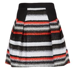 milly laminated striped skirt