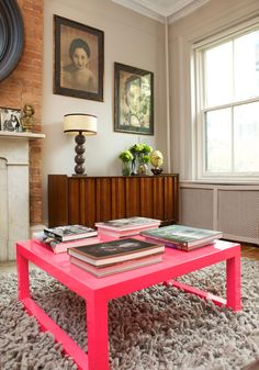 Custom made pink lacquered coffee table (in style of Abigail Ahern), mid-century credenza at Curated Goods and Nesta Rug by DWR.