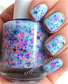 NEW Neon--Blue Gypsy:  Custom-Blended NEON Glitter Nail Polish / Lacquer. via Etsy.