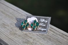 Rose Emblem Earrings in Emerald by Tiffany Rose Designs
