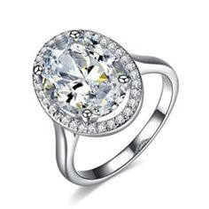 UMODE Jewelry Gorgeous Stunning 6 Carat Oval Cubic Zirconia CZ Accented Halo Engagement Wedding Ring