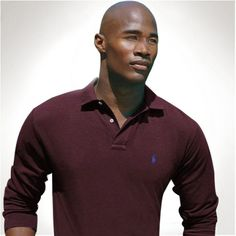 Ralph Lauren Wine Red Mesh Polo Men Long Sleeved http://www.ralph