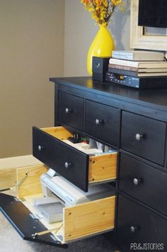 Even when your home office is mobile, your printer usually isn't. Follow this tutorial @ PB&J Stories to learn how to turn the HEMNES 8-drawer dresser into your printer's home base, complete with a flip-down front!