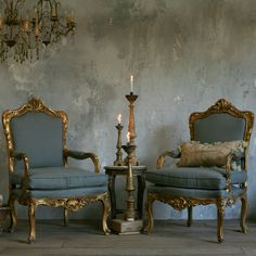 Eloquence One of a Kind Vintage Armchairs Bright Gilt Set of 2 @Layla Grayce