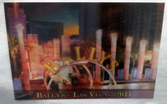 Las Vegas 25 Bally's MGM The Strip Sign 3D Lenticular Postcard 1979 and 2011