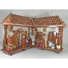 Balcón rinconero grande en madera y teja de barro - ARTYTIENDA Calle 53 Bogota Artesanias en miniaturas Colombia Porch Area, Getaway Cabins, Baby Girl Nursery Decor, Neutral Color Scheme, Roof Structure, Decorative Tile, Cold Porcelain, Dollhouse Furniture, Real Wood