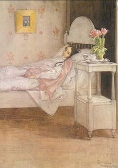 """""""This beautiful austere room--(room in which you are dying/room in which a - a /will still = a, world - world = world"""") --Jane Hirshfield.  Painting by Carl Larsson."""