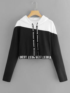 To find out about the Letter Tape Color Block Sweatshirt at SHEIN, part of our latest Sweatshirts ready to shop online today! Crop Top Outfits, Cute Casual Outfits, Stylish Outfits, Stylish Clothes, Casual Shoes, Girls Fashion Clothes, Teen Fashion Outfits, Girl Outfits, Womens Fashion