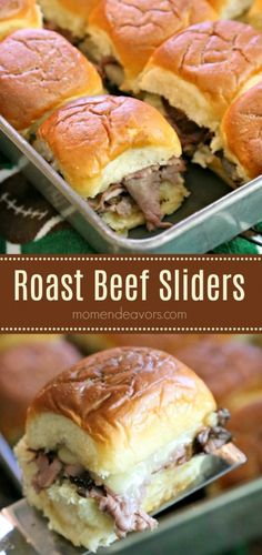 Delicious Roast Beef Sliders - Mom Endeavors Easy Roast Beef Sliders – PERFECT for gameday football festivities, parties, or really even just Roast Beef Sliders, Sliced Roast Beef, Roast Beef Sandwiches, Sliders Burger, Roast Beef And Horseradish, Hamburgers, Sandwich Bar, Sandwich Recipes, Chicken Sandwich
