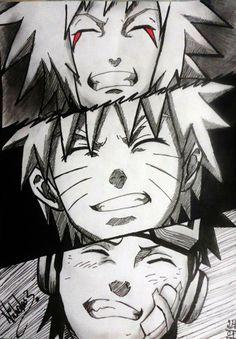 "~ Naruto . Jiraya, Naruto, Obito ""I want to become the Hokage!"" THEIR SMILES OMG"