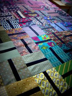 Quilt made from old ties.  Nice keepsake for remembering a loved one.
