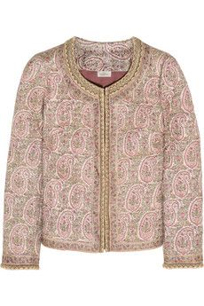 Multicolored Tussar silk Hook fastenings through front silk Dry clean Silk Jacket, Quilted Jacket, Stylish Coat, Casual Elegance, Print Jacket, Frame Denim, Paisley Print, Outerwear Jackets, Social 1