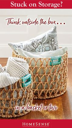 Looking for storage inspiration? Swap out boring boxes for beautiful baskets. Find endless storage solutions perfectly priced at a HomeSense near you. Dyi Fall Decor, Home Decor Wall Art, Diy Home Decor, Bedroom Organization Diy, Candle Store, Homesense, Diy Baby Gifts, Diy Storage, Storage Ideas