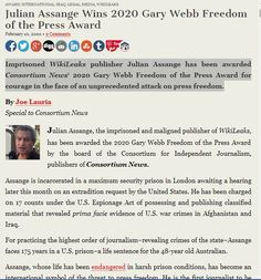 Julian Assange Wins 2020 Gary Webb Freedom of the Press Award