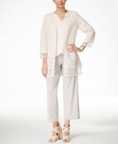 Alfani Open Lace Cardigan, Layered-Hem Top & Soft-Knit Culottes, Only at Macy's