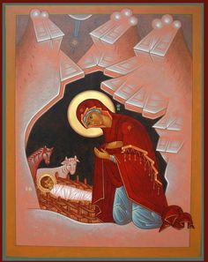 The Nativity// \ very different looking , Spiritual Images, Religious Images, Religious Icons, Religious Art, Byzantine Icons, Byzantine Art, Religion Catolica, Madonna And Child, Catholic Art